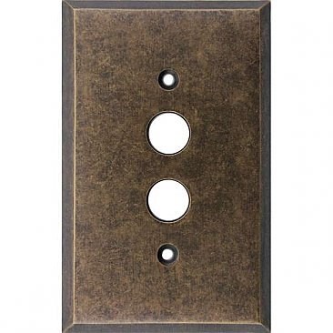 Aged Antique Brass Double Pushbutton/Single Blank Switchplate