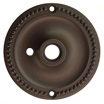 Beaded Doorknob Rosette, with Privacy Button Hole - Oil Rubbed Bronze