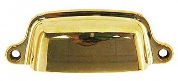 "Medium Drawer or Bin Pull - Polished Brass - 3"" on Center"