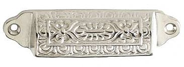"Ornate Polished Nickel Drawer or Bin Pull - Large  - 3-1/2"" on Center"