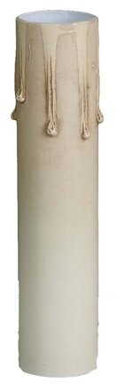 "Antique Ivory Tinted Paper Board Candle Cover with Drips - Candelabra - 4"" High"