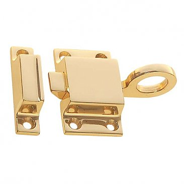 Transom or Cabinet Latch with Box Strike - Polished Unlacquered Brass