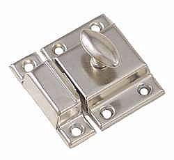 Large Economy Cabinet Latch - Oval Knob - Polished Nickel