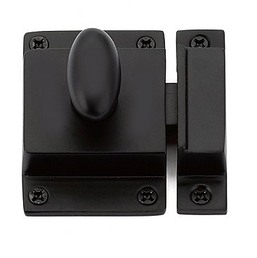 Traditional Spring Loaded Oval Knob Cabinet Latch - Flat Black
