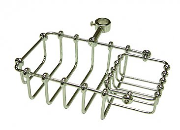Riser Mount Soap & Sponge Holder for Clawfoot Bathtub - Polished Chrome