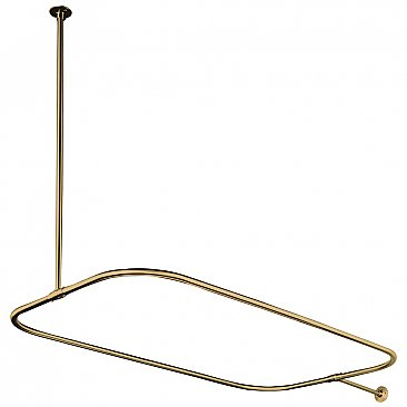 Clawfoot Bathtub Shower Enclosure Curtain Ring and Supports - Polished Brass