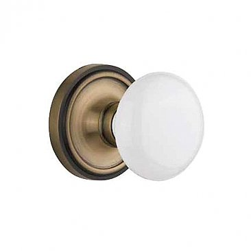 Complete Door Hardware Set - with Classic Rosette with White Porcelain Knob