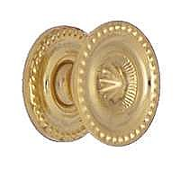 "Small 1"" Diameter Colonial Revival Beaded Sheraton Knob - Polished Brass"