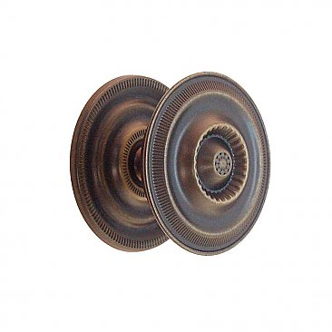 Antique Brass Sheraton Style Cabinet Knob with Backplate - 2""