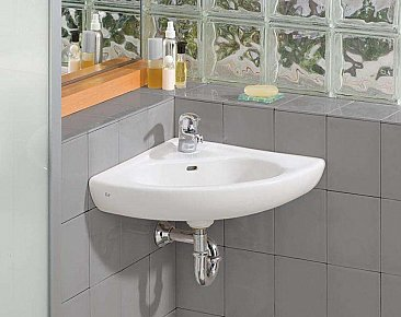 Wall Mount Vitreous China Corner Lavatory / Sink