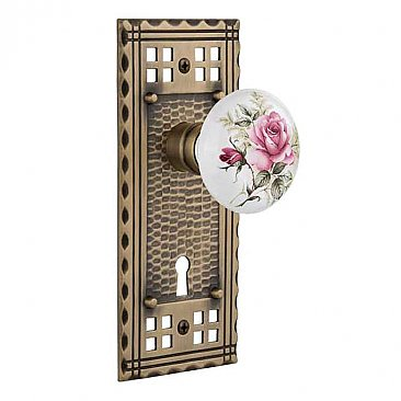 Complete Door Hardware Set - with Craftsman Plate with Rose Porcelain Knob