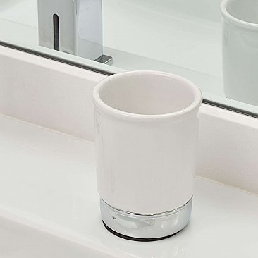 York White Ceramic and Chrome Bathroom Cup or Tumbler