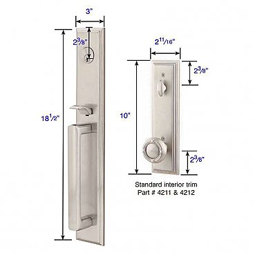 Melrose Brass Tubular Entry Door Hardware Set