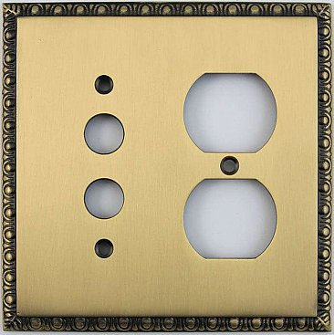 Egg And Dart Antique Brass Forged Pushbutton / Duplex Switchplate / Cover Plate