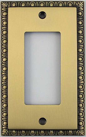 Egg And Dart Antique Brass Forged Single GFCI Switchplate / Cover Plate