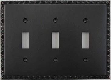 Egg And Dart Oil Rubbed Bronze Forged Triple Toggle Switchplate / Cover Plate
