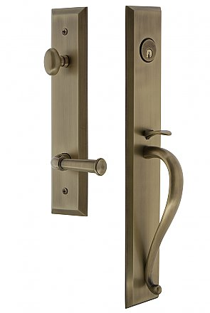 Grandeur Fifth Avenue Complete Exterior and Interior Handleset With Deadbolt - Multiple Finish and Interior Knob Options - S Grip