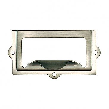 File Cabinet Card Holder with Pull - Brushed Nickel