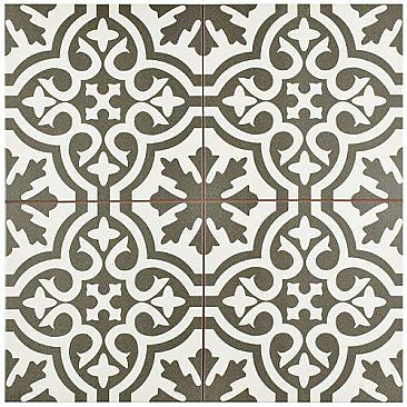 "Berkeley Charcoal Brown 17-5/8""x17-5/8"" Ceramic Tile - Brown & Gray & White- Per Case - 11.10 Square Feet"