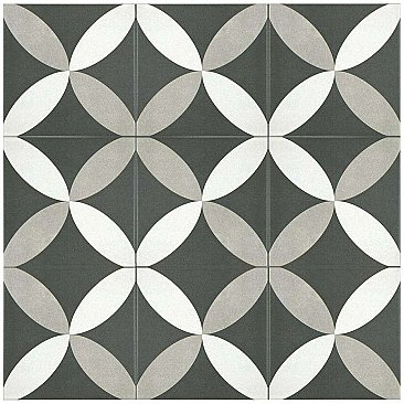 "Twenties Vintage Petal 7-3/4"" x 7-3/4"" Ceramic Tile - Sold Per Tile - .42 Square Feet Per Tile"