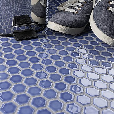 "Tribeca 1"" Hex Glossy Periwinkle Blue Porcelain Mosaic Tile - Sold Per Case of 10 Sheets - 8.65 Square Feet Per Case"
