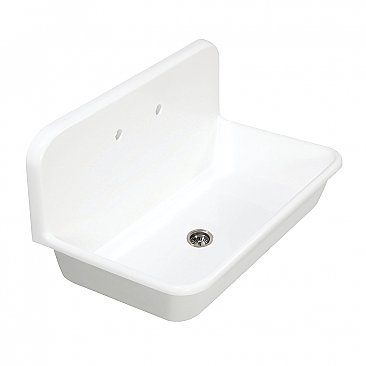 "Gourmetier Arcticstone 36"" Solid Surface Farmhouse Kitchen Sink with Backsplash, Matte White"