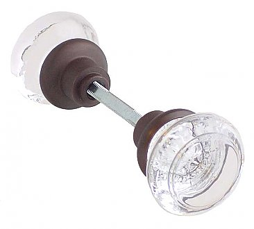 Clear Glass Round Doorknob Pair - Multiple Finishes