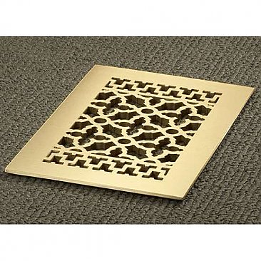 "Solid Brass Scroll Design Register or Heat Grate - 6"" x 10"" Duct Size"