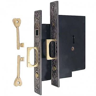 Butterfly Pocket Door Mortise Lock Set for Double Doors, Antique Nickel