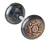 Daisy Doorknob, Pair, Antique Copper