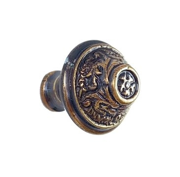 Romanesque Small Cabinet Knob, Antique Copper