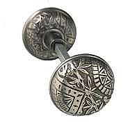 Oriental Doorknob, Pair, Antique Nickel