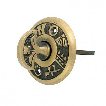 Round Turn for Rotary Doorbell, Antique Brass