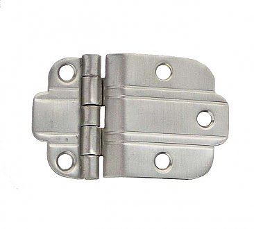 Art Deco Offset Cabinet Hinge, Brushed Nickel