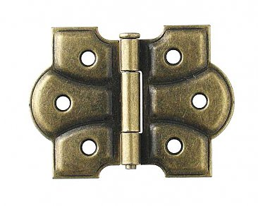Butterfly Cabinet Hinge Pair, Antique Brass Finish