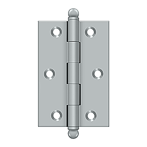 "Solid Brass 3"" x 2"" Cabinet Hinge with Ball Tips, Pair"