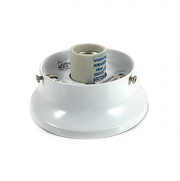 "White Flush Mount Collar Light Fixture, 3-1/4"" Fitter"