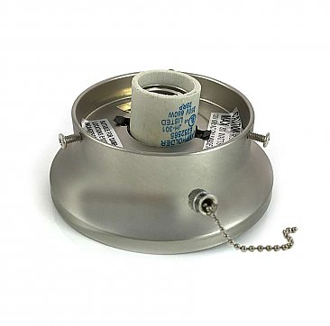 "Satin Nickel Flush Mount Collar Light Fixture with Pull Chain, 3-1/4"" Fitter"