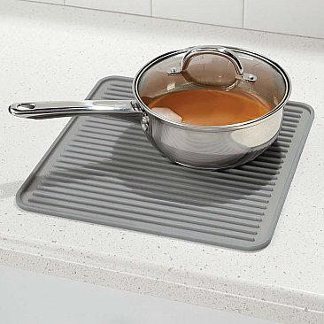 Lineo Sinkware Medium Silicone Kitchen Trivet or Drying Rack - Gray