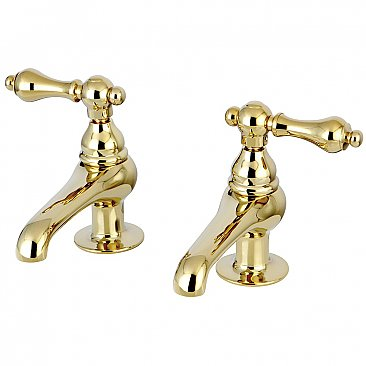 Restoration Basin Sink Faucet Separate Hot & Cold Taps - Metal Levers Handles - Polished Brass