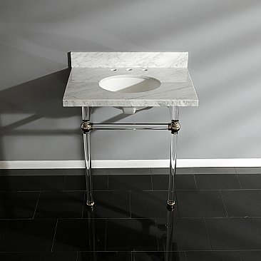 "Fauceture Templeton 30"" Wide Carrara Marble Bathroom Console Vanity with Acrylic Legs - Polished Nickel"