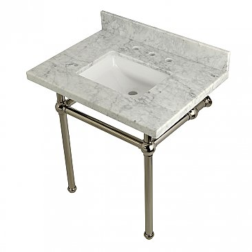 "Kingston Brass 30"" Wide Carrara Marble Vanity with Sink and Polished Nickel Legs"