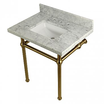 "Kingston Brass 30"" Wide Carrara Marble Vanity with Sink and Satin Brass Legs"