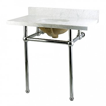 "Fauceture 36"" Templeton Carrara Marble Console Sink - Polished Chrome Legs"