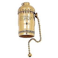 Lamp Socket, Solid Brass Pull chain complete socket with UNO