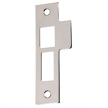 "Solid Brass Strike Plate - 3-7/8"" High - Polished Nickel"