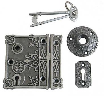 Victorian Cast Iron Rim Lock Kit - Fancy - Includes Keys - Rose - Keyhole