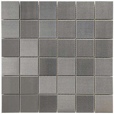 "Alloy Quad 11-7/8""x 11-7/8"" Stainless Steel & Porcelain Mosiac Tile - Stainless Steel - Per Sheet- .98 Square Feet"