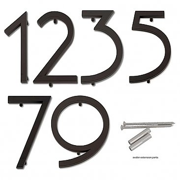 "Avalon House Numbers - Oil Rubbed Bronze - 4-1/2"" High"