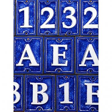 Cobalt Blue Crackled Ceramic Glass House Numbers